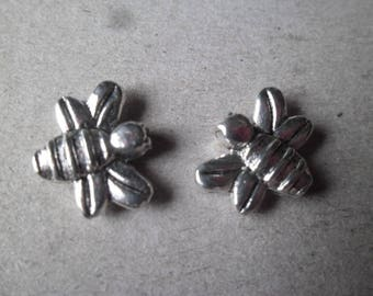 x 5 beads spacer bee motif silver 15 x 12 mm