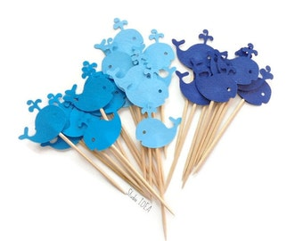 Mixed Blue Baby Whale Cupcake Toppers, Food Picks-Set of 12pcs, 24pcs