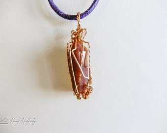 Jasper Stone Quartz Crystal Pendant w/ gold wire wrap Double Terminated Points