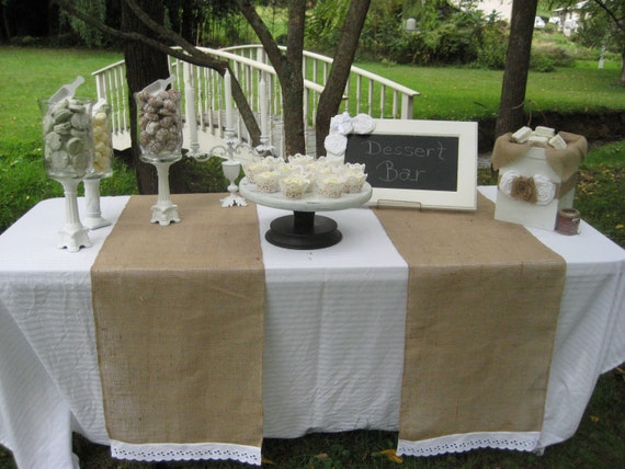 Burlap and Lace Runner Rustic Wedding Burlap Wedding Eyelet