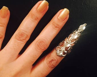 Crystal arrow tip,claw ring,nail guard or Thumb claw Ring,silver color, Swarovski Crystals, 1 piece only, adjustable.