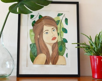 Portrait illustration and vegetable background Nathalie - watercolor painting and gouache