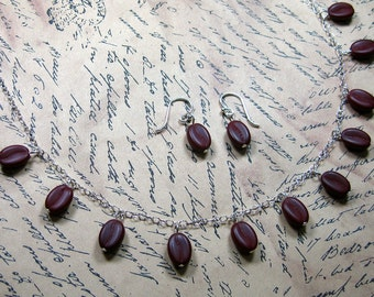 Espresso necklace & earring set - cute glass coffee beans on sterling silver chain and earwires -Free Shipping USA