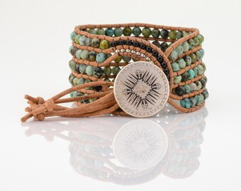 Turquoise green leather Wrap Bracelet African Turquoise Wrap Bracelet, blue green loom beaded wrap cuff, yoga wrap cuff Boho summer cuff
