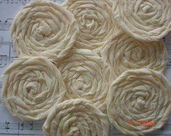 8 Handmade Rolled Cream Fabric Rosettes Scrapbook Embellishment Quilt Applique