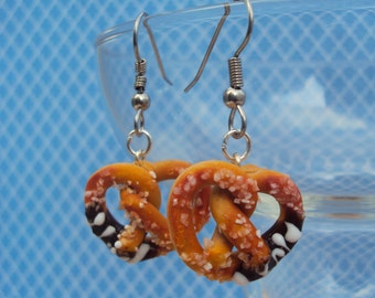 Chocolate Dipped Salted Pretzel Earrings Polymer Clay, Miniature Clay Dessert Food Jewelry, Hook Earrings