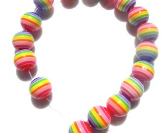Beautiful high quality 8mm resin round rainbow striped beads - you get 100
