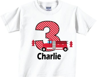 3rd Firetruck Birthday Shirts and Firetruck and Hydrants  Tshirts for any Age or Birthday