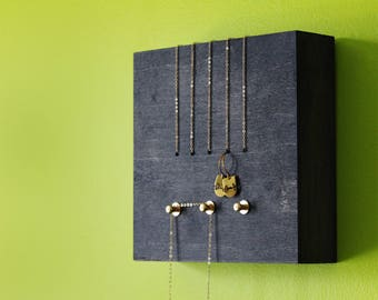 Necklace display jewelry holder black and gold minimalist wall mount jewelry organizer jewelry storage modern wood brass - PERCH no1 BLACK