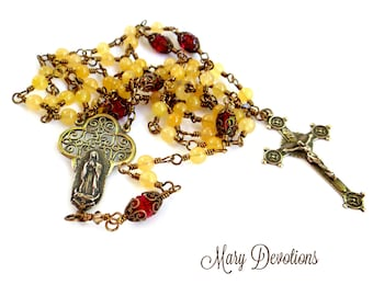 """Yellow Jade and Siam Crystal """"Our Lady of Guadalupe Roses in December"""" Rosary"""