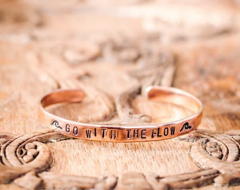 Go With The Flow Copper Stamped Bracelet