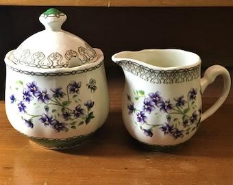 Maggie's Garden Creamer and Lidded Sugar Bowl Set - Mcintosh