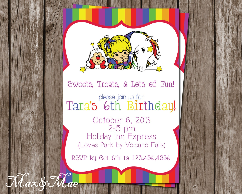 Rainbow Brite Birthday Invitation Rainbow Birthday Party