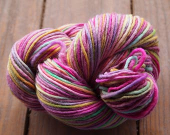 Handpainted Yarn Wool 192yards Worsted Weight Knitting Aspenmoonarts Hand Painted Pink Yellow Green CW035 Felting