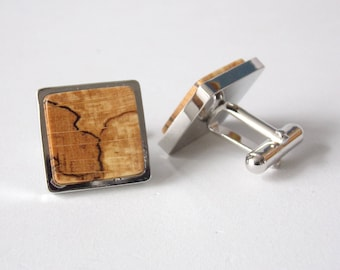 Rhodium Plate And Spalted Beech Wood Wooden Cufflinks Cuff Links