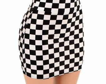 """Black & White Check Print UV Glow Stretchy Spandex Bodycon Skirt 16"""" Length - 155035"""
