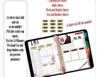 The Walking Dead Printable Planner/walking Dead Printable Planner Inserts/A5 planner Insert/PNG/Letter Size/