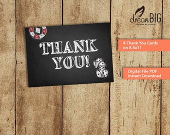 Casino Thank You Card for Poker Birthday Party - Digital PDF - Instant Download