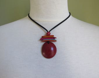 Mother's Day Gift, Red Tagua Necklace, Ecofriendly Necklace, Tagua Nut Necklace, Pendant Necklace, Boho Necklace, Boho Jewelry