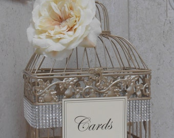 Champagne Gold Wedding Birdcage Card Holder | Wedding Card Box | Gold Birdcage | Wedding Card Holder [Small Size]