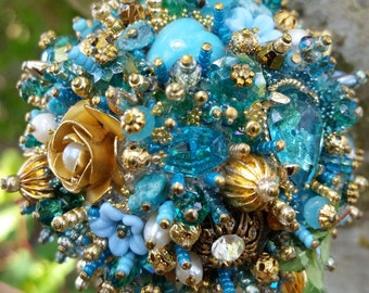 Bejeweled Ornament Turquoise Goldtone Art Vintage Jewelry Rhinestones Assemblage