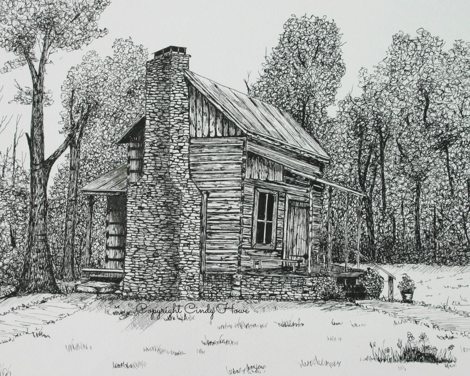 Mountain Log Cabin Drawing