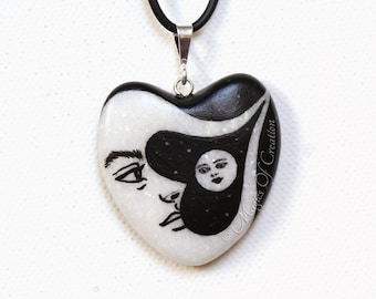 Moon and star heart necklace: unique romantic gift for moon and sun lovers. Original design and painting handpainted on a heart shaped stone