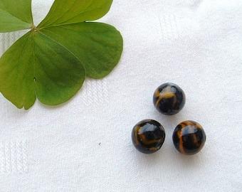 """Set of 3 """"SPIDER"""" black/ORANGE 12 mm round glass beads"""