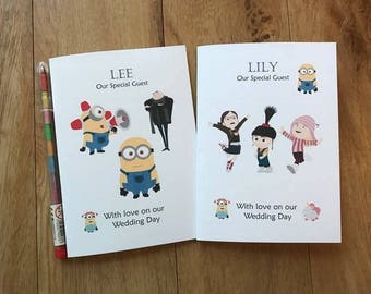 A6 Personalised Childrens Kids Wedding Activity Book Pack Favour MINIONS Inspired