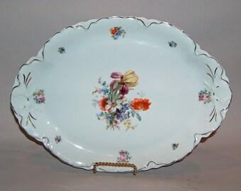 """p7607: Bavaria Platter 13.5"""" Antique Dresden Floral Flowers Gold Trim Serving Plate Gold Trim Oval at Vintageway Furniture"""