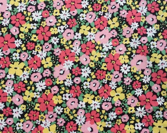 Multi-Colour Flowers on Black by Sevenberry - Cotton Fabric