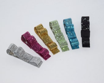 Glitter Hair Clips Sparkly Hair Clips Tuxedo Bow Hair Clips Baby Girl Buy 3 Items, Get 1 FREE