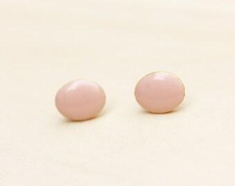 Pink Oval Enamel Studs