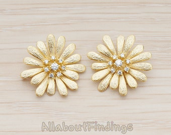 CNT104-MG // Matte Gold Plated Cubic Zirconia Setting Daisy Flower Connector, 1 Pc