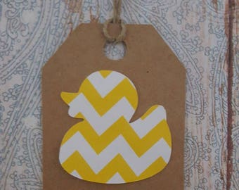 Free Shipping, Baby Shower Duck Tags, Baby Shower Gift Tags, Baby Duck Gift Tags. Thank You Tags, Yellow and White tags, ChevronTags