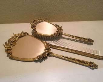 Vanity Hair Brush Comb And Mirror Set