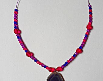 Lobelia, agate slice necklace
