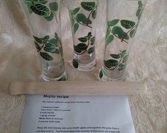Vintage Mojitos Set 3 Piece Wooden Muddler Recipe