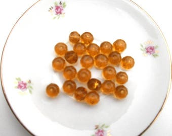 191 amber set of 10 faceted glass beads