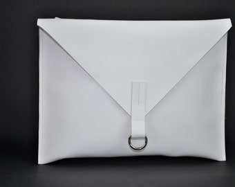 Handmade White Latigo Leather Envelop Briefcase/Satchel