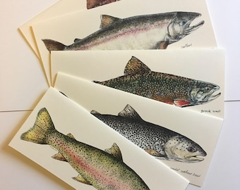 Trout Cards- oversized cards with original trout illustrations, choose from 5 species or set
