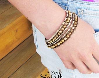 Pierre de jaspe Wrap Bracelet, bijoux Zen, bijoux de Yoga, bijou, jaspe RAS de cou