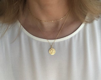 Dainty Coin necklace. Gold coin necklace. Silver Roman coin necklace. Minimalist, Layering jewelry. Gold disc necklace