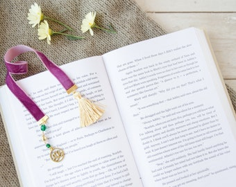 Purple velvet ribbon bookmark with green glass beads and lotus flower charm and tassel