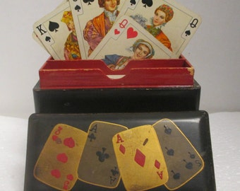 Vintage Hand Painted Black & Red Lacquered Playing Card Box