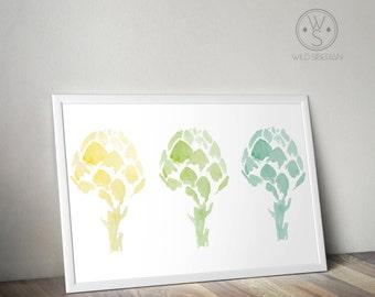 3 color artichokes printable watercolor kitchen art