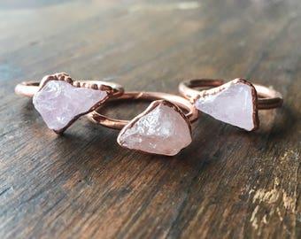 Morganite Ring   Raw Morganite Ring   Raw Stone Ring   Morganite Ring   Electroformed Jewelry   Crystal Ring   Pink Stone Ring  