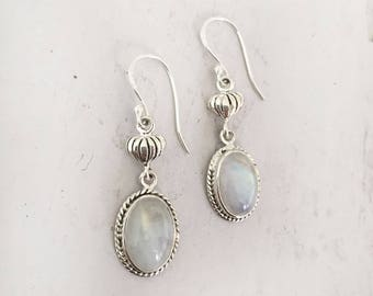 Rainbow Moonstone Earrings, 925 Sterling Silver Earring Moonstone Earrings Lotus Earrings Handmade Earring Healing Crystal Moonstone Jewelry