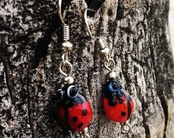 Red Ladybug Earrings