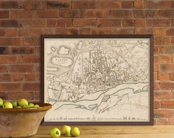 Warsaw map  - Old city plan  - Fine giclee print